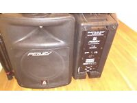 Peavey Impulse 1015 passive P.A. Speakers with heavy duty speaker stands