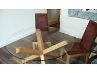 # SOLD # Glass & oak modern table & 4 chairs (fabric)
