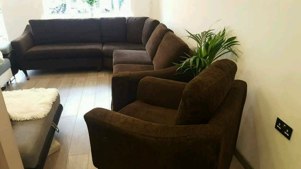 Corner sofain St Mellons, Cardiff - Used corner sofa & armchair in good condition. Very comfortable, plenty of space.Folds in 4parts ,the cushion covers can be easily removed for washing. Will easily fit 9people. Dimensions 285x255x85cmAny questions please feel free to contact me