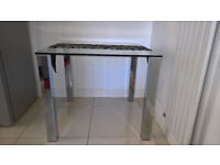 TIVA Glass and Chrome Dining Table