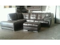 Sofology Large Leather corner sofa & Puffa Stool Excellent Mint Condition very clean rips or tears