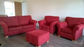 2/1/1 sofa suite with footstool. Red fabric. Very good condition.