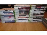Xbox 360 + 50ish games for sale. Comes with leads and two damaged controllers