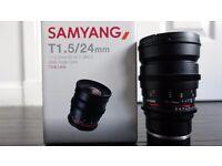 Samyang 24mm T1.5 AS UMC II Cine Lens - Sony FE Fit