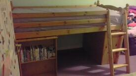 2 x solid wood single cabin beds with pull out desk and shelves and ladders