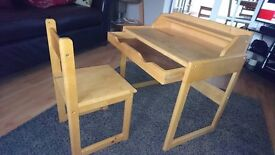 Young Childs Wooden Desk and Chair