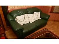 3 Piece Dark Green Leather Sofa Set in good condition
