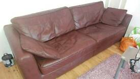 DFS REAL LEATHER SOFA SET 4 + 2 + 1 (RRP £4000)