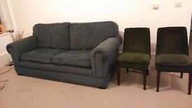 Plush green sofa very soft and comfortable in excellent condition
