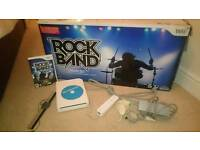 Nintendo wii console, and rock band drum kit