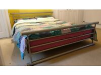 King Size Metal and Wood Sprung Slatted Bed Frame