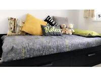 BRIMNES IKEA Single to Double Bed with 2 Drawers - Black