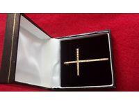 375 (9ct) 60 round white diamonds on large cross pendent w/box new
