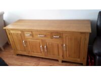 "Solid Light Oak Side Board Cabinet 5ft 11"" x 2ft"