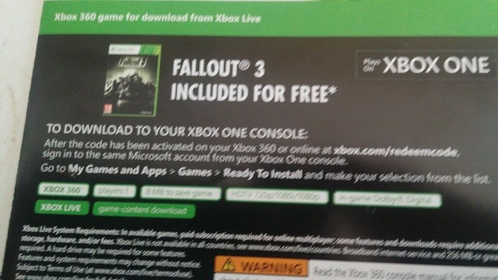 Fallout 3 Code - Xbox one & Xbox 360 | in Poole, Dorset | Gumtree