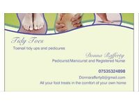 Tidy Toes foot care and pedicure service in the comfort of your own home.