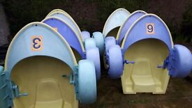 2 Zorbing pools and hand pedal boats