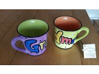 Lovely Grandma / Granddad mugs - new unused - Mary Rose Young collection