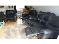 3 Seater sofa & 2 Armchair Soft Black Leather Recliners