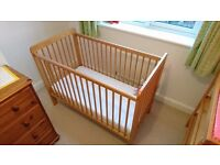 John Lewis Cot and Change Table (with extras: Mattress, Sheets, Boxes, Mat) lots of photos