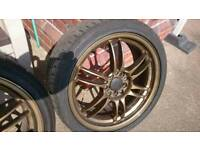 """17"""" x 7J KRS Racing gold bronze forged monoblock x4 wheels tyres 5x114.3 Civic EP3"""