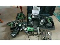 Hitachi drill & torch set + angle grinder