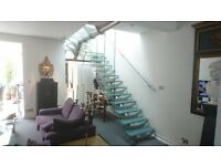 GLASS AND STAINLESS STEEL DESIGNER STAIRCASE