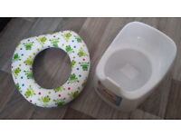 Kids toilet seat and potty, used, but good condition