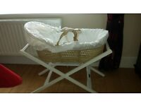 Mamas and Papas Moses Basket with stand vgc