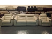 Ex-display Memphis cream leather electric 3 seater sofa and 2 electric armchairs