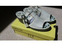 "Ladies ""Fly"" white wedge sandals. Size 5/6. Brand new with box and tags"