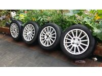 15 inch multi spoke alloys with good tyres 4 stud 4 × 108 PEUGEOT FORD CITREON