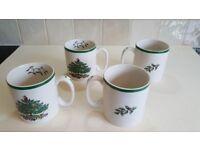 Set of four Spode Christmas Tree mugs - New
