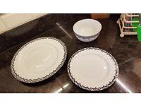 Black and White Crockery set 4 plates 4 side plates 4 bowls John Lewis