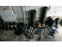 350kg of cast iron weights + 38kg dumbbells+ barbells + dumbbell bars