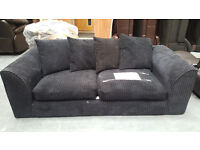 CODE 78 - Second Hand Jackson Black 3 Seater Fabric Sofa Jumbo Cord Cheap Clearance NO FEET MUST GO
