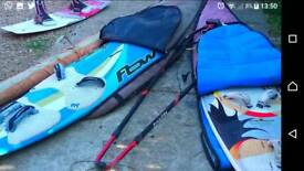 2 windsurfing boards and sail