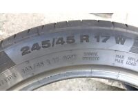 2 USED TYRES 245/45/R17 95W