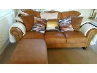 Leather 3 seater, 2 seater sofas, chair & 2 storage footstool