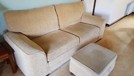 Quick sale, open to offers for a two and three seater fabric suite with foot stool.