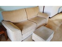 Three and two seater fabric suite with foot stool.
