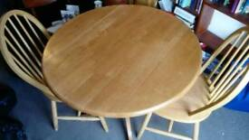Solid pine wood table and 2 chairs