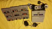 Super nintendo with 9 games