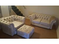 BRAND NEW Chesterfield Crushed velvet sofa for sale ( Free Foot stool)