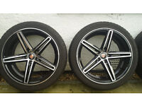 "Vauxhall Alloys 18"" Axe EX14 Black Polished Wheels x 4 - WBA8481 with 6mm Tyres"