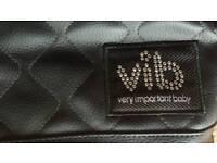 Vib baby swarovski crystal black quilted nappy bag