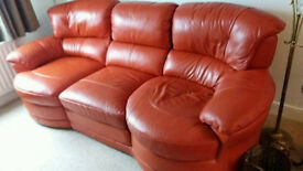 Red leather suite with electric recliner