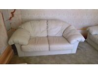White leather 3 piece suite