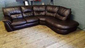 HARVEYS BROWN REAL SOFT LEATHER CORNER SOFA USED IN GOOD CONDITION