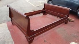 King size Solid wood sleigh bed frame